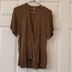 Sexy Olive Green Deep V Neck Blouse Size Large
